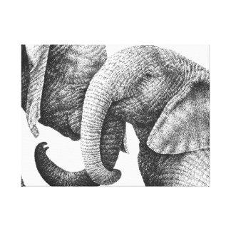 Afrikanische Elefanten dehnten Leinwand-Druck aus Leinwanddruck