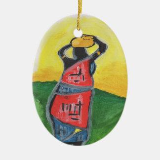 Afrikanische Frau Ovales Keramik Ornament