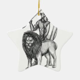 Afrikanische Kriegers-Stangen-Löwe-Tätowierung Keramik Ornament