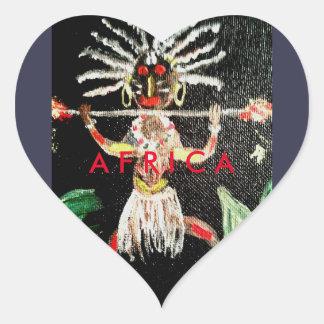 Afrikanische Kunst Herz-Aufkleber