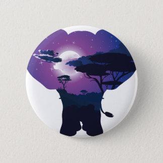 Afrikanische Nacht mit Elefanten 3 Runder Button 5,1 Cm