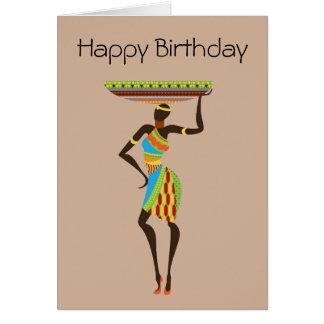 Afrikanische Stammes- Dame mit Stammes- Geburtstag Karte
