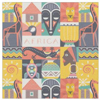 Afrikanische symbolische Kunst-Collage Stoff