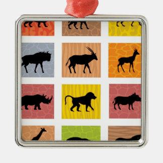 Afrikanische Tiere Quadratisches Silberfarbenes Ornament