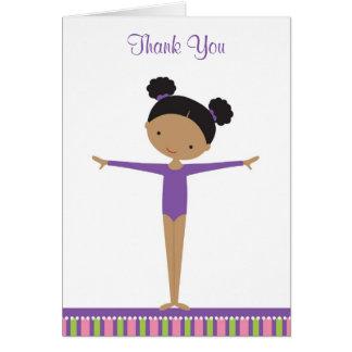 Afrikanischer amerikanischer Gymnast danken Ihnen Karte