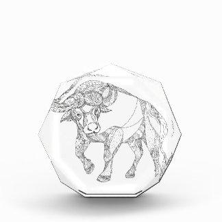 Afrikanischer Büffel-aufladengekritzel Acryl Auszeichnung