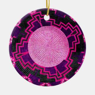 Afrikanischer Korb-kundenspezifische Rundes Keramik Ornament