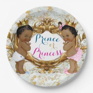 Afrikanischer Prinz oder Prinzessin Gender Reveal Pappteller