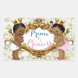 Afrikanischer Prinz u. Prinzessin Gender Reveal Rechteckiger Aufkleber