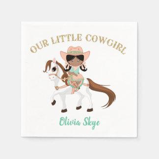 Afrikanisches amerikanisches Cowgirl auf Servietten