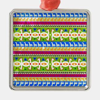 Afrikanisches Einhornmuster Silbernes Ornament