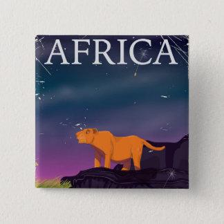 Afrikanisches große Katzen-Vintages Plakat Quadratischer Button 5,1 Cm