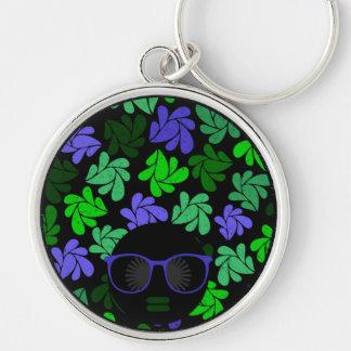Afro-Diva grünes u. blaues Keychain Schlüsselanhänger