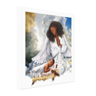 Afro-Engel und Baby-Jesus-Malerei-Leinwand-Druck Leinwanddruck