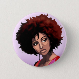 Afro girl runder button 5,1 cm
