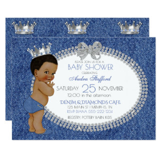 Afroamerikaner-Baby-Denim u. Diamanten 12,7 X 17,8 Cm Einladungskarte