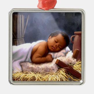 Afroamerikaner-Baby-Jesus-Weihnachtsverzierungen Quadratisches Silberfarbenes Ornament