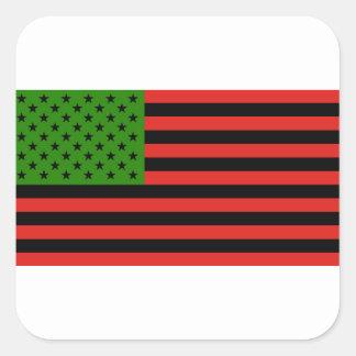 Afroamerikaner-Flagge - rotes Schwarzes und grün Quadratischer Aufkleber