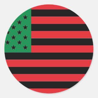 Afroamerikaner-Flagge - rotes Schwarzes und grün Runder Aufkleber