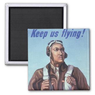Afroamerikaner-Flieger WPAs Tuskegee von WW2 Quadratischer Magnet