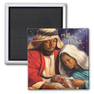 Afroamerikaner-heilige Familien-Weihnachtsmagneten Quadratischer Magnet