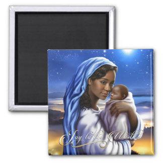 Afroamerikaner-Madonna-Weihnachtsmagneten Quadratischer Magnet
