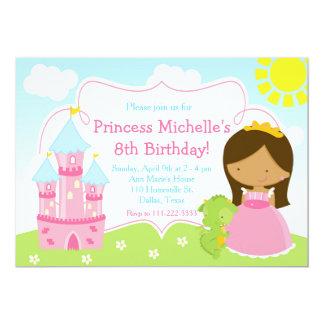 Afroamerikaner-Prinzessin-und Drache-Geburtstag 12,7 X 17,8 Cm Einladungskarte
