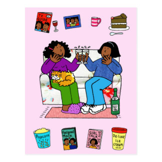 Afroe-amerikanisch Freundinnen, Nacht in Postkarte