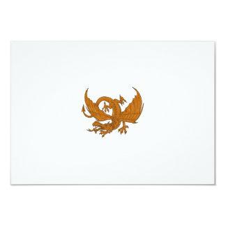 Aggressiver Drache-duckendes Zeichnen 8,9 X 12,7 Cm Einladungskarte