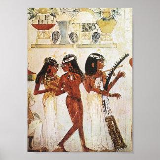 Ägyptische Frauen-Musiker-Postkarte Poster