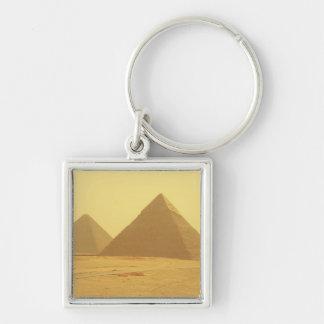 Ägyptische Pyramiden Silberfarbener Quadratischer Schlüsselanhänger