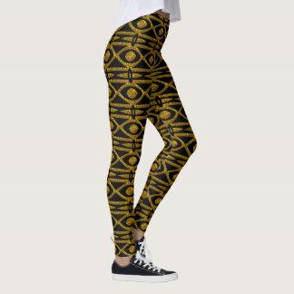 Ägyptisches Muster im Schwarzen und im Gold Leggings