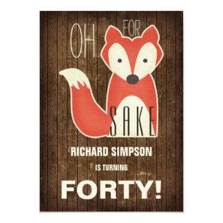 Ah, pour la fête d'anniversaire de saké de Fox Carton D'invitation 12,7 Cm X 17,78 Cm