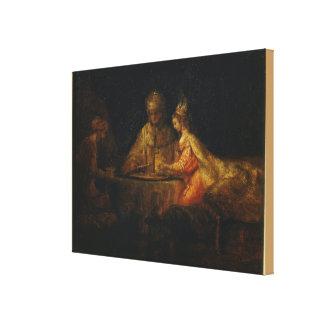 Ahasuerus und Haman am Fest von Esther Leinwanddruck