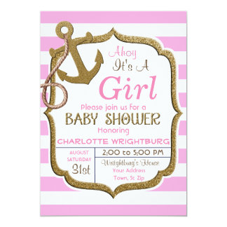 Ahoi ist es eine Mädchen-Seethema-Baby-Einladung Karte