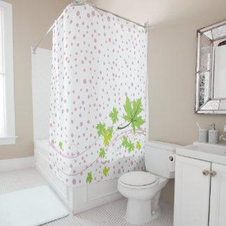 Ahorn verlässt die grünen und rosa Polkapunkte Duschvorhang