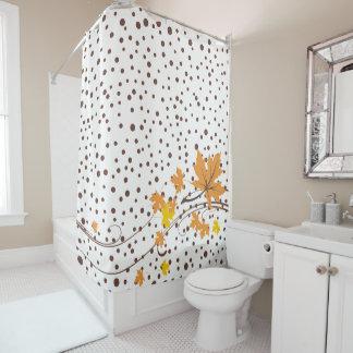 Ahorn verlässt die orange und braunen Polkapunkte Duschvorhang