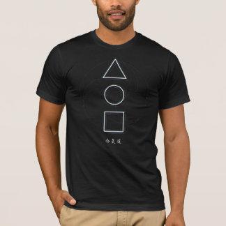Aikido Sangen Dreieck-Kreis Quadrat u. Mitsudomoe T-Shirt