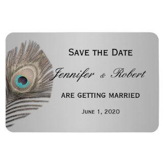 Aimant argenté de mariage de paon d'élégance magnets