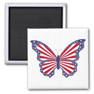 Aimant blanc et bleu rouge patriotique de papillon