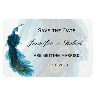 Aimant bleu turquoise de mariage de plume de paon magnet rectangulaire avec photo