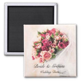 Aimant de faveur de mariage de bouquet de roses