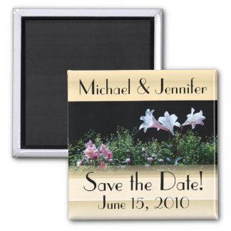 Aimant Économies florales de jardin de fleurs la date