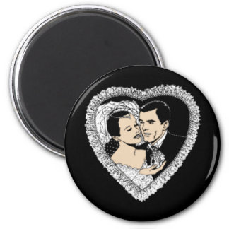 Aimant noir de coeur de mariage