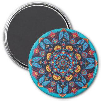 Aimant noir de mandala de fleur (style de Paisley)