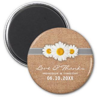 Aimant Ruban de marguerite - Merci gris et blanc de toile
