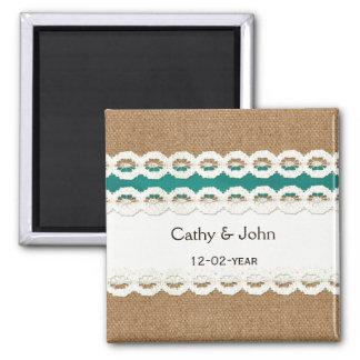 Aimant Toile de jute rustique turquoise et mariage