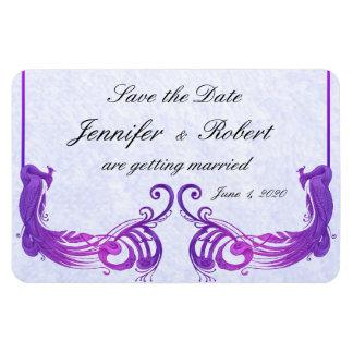 Aimant vintage pourpre de mariage de paon magnet en rectangle