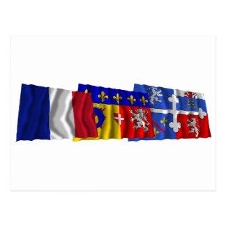 Ain, Rhône Alpes- u. Frankreich-Flaggen Postkarte