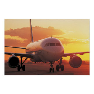 Airbus A320 - Zurückziehen auf Sonnenuntergang Poster